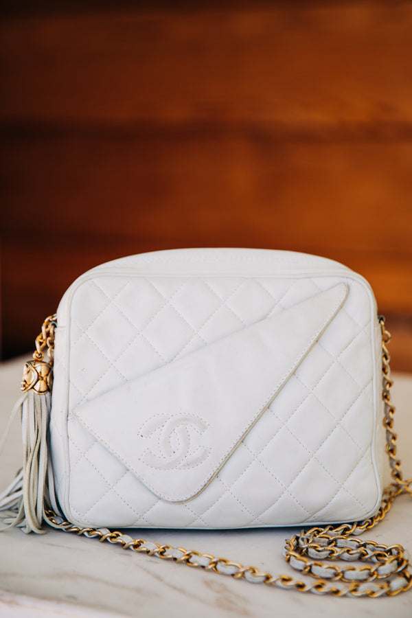 Chanel White Lambskin Vintage Quilted Shoulder Bag