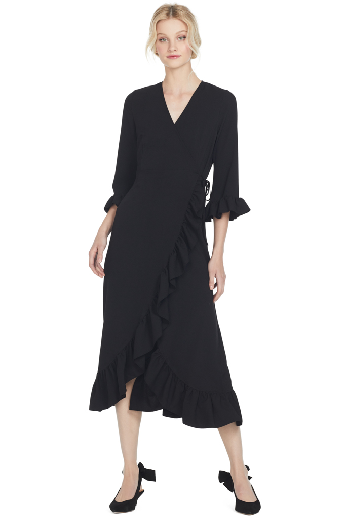Ganni Clark Wrap Dress (Black)