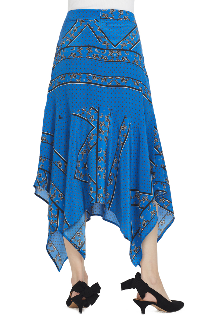 Ganni Cloverdale Silk Skirt (Blue)