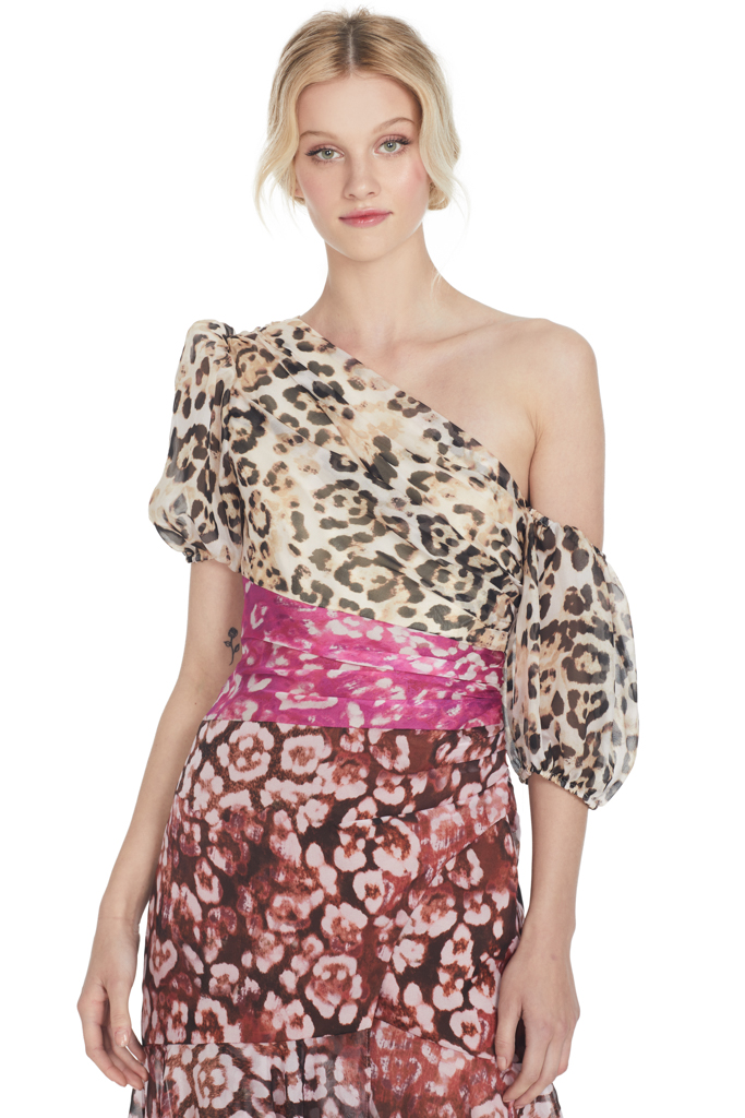 Color Blocked Leopard Print Dress