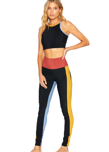 Colorblocked Rib Leggings - Black Harvest Gold