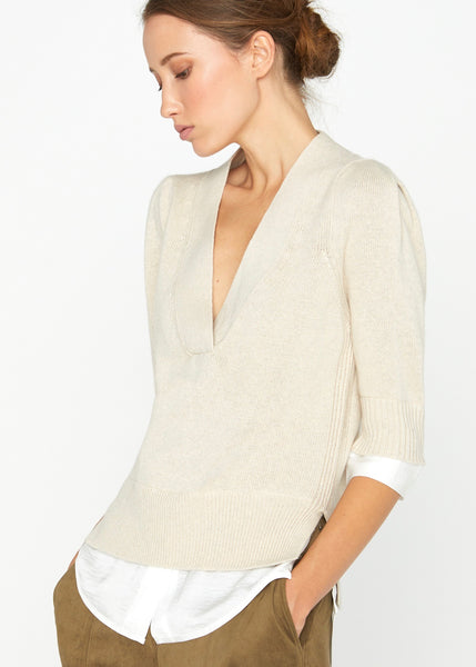 Lucie Layered Vee Looker - Bisque w/ White