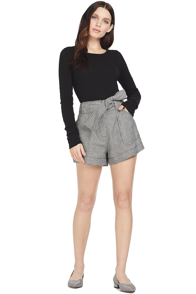 Derek Lam Belted Short W/ Patch Pockets (Black & White)