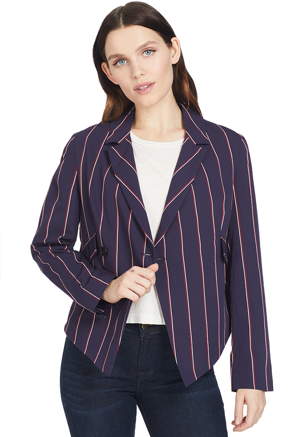 Derek Lam Cropped Asymmetrical Blazer (Midnight)