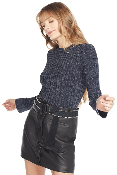 Derek Lam Fitted Rib Crewneck Pullover (Midnight)