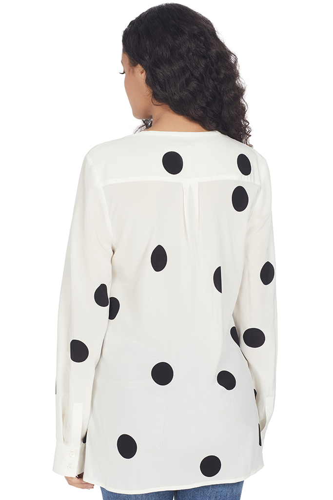 Derek Lam 10 Crosby Long Sleeve Button Down Blouse (Cream Multi)