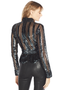 Derek Lam Long Sleeve Mock Neck Sequin Top (Black)