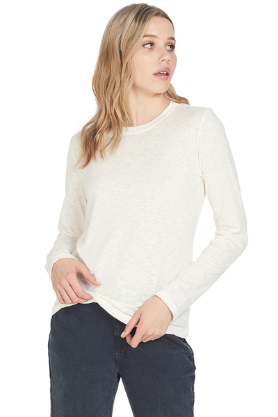 Derek Lam Long Sleeve Tee W/ Drawstring Back Detail Off White