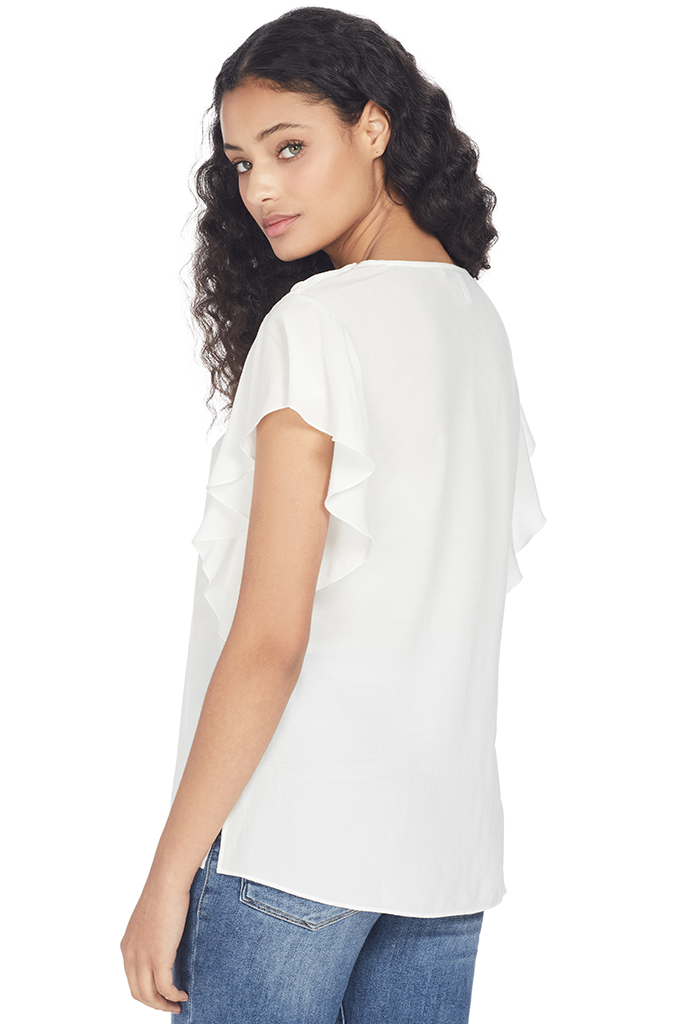 Derek Lam 10 Crosby Short Sleeve Crewneck Ruffle Blouse (Soft White)