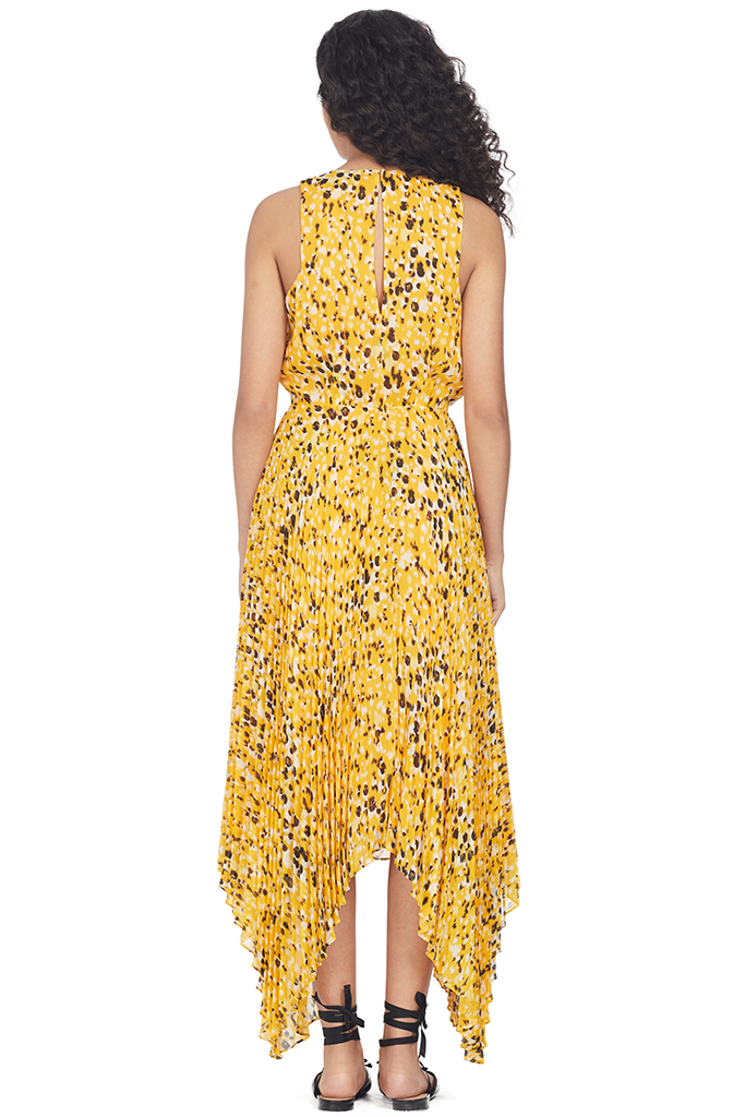 Derek Lam 10 Crosby Sleeveless V Neck Dress W/ Pleated Skirt (Marigold Multi)