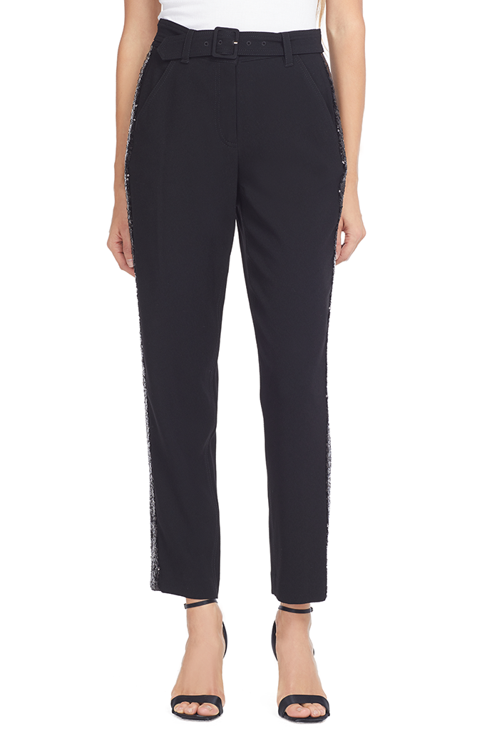 Derek Lam Straight Leg Trouser With Tuxedo Stripe (Black)