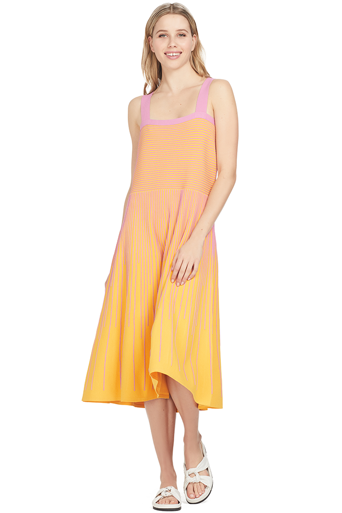 Derek Lam Stripe Knit Cami Dress (Tangerine)