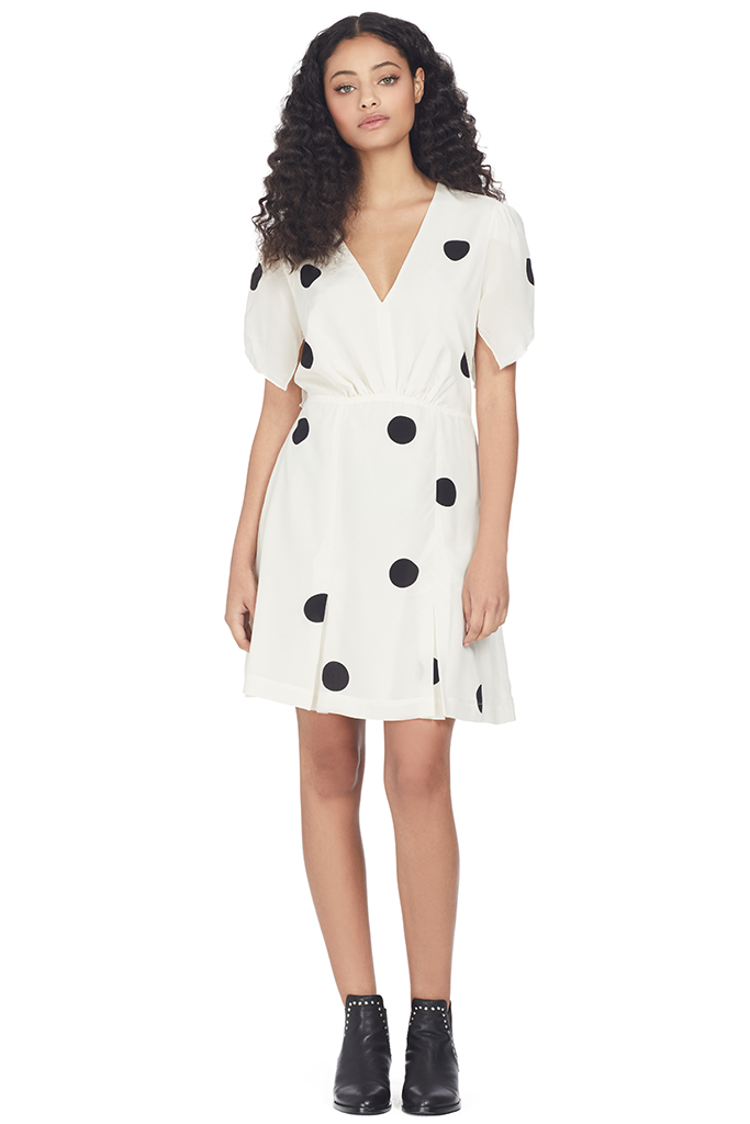 Derek Lam 10 Crosby V-Neck Ruffle Sleeve Mini Dress (Cream Multi)