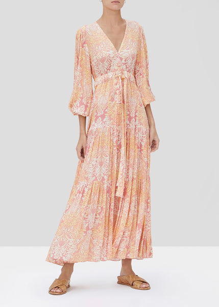 Fortunia Long Dress - Rose Damask