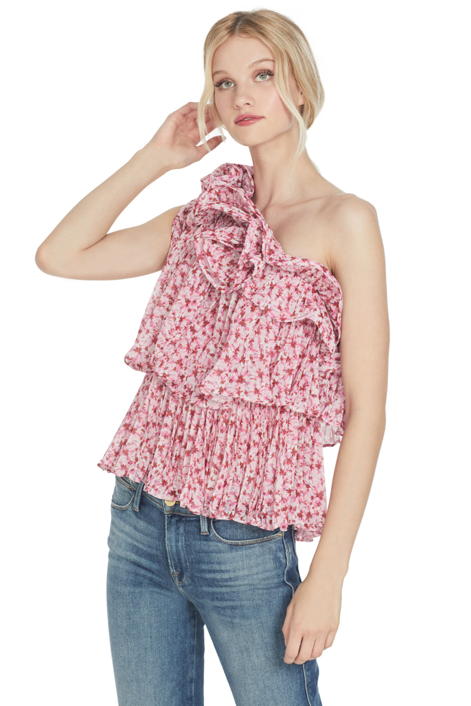 AMUR Floral Daze Pleated One Shoulder Top