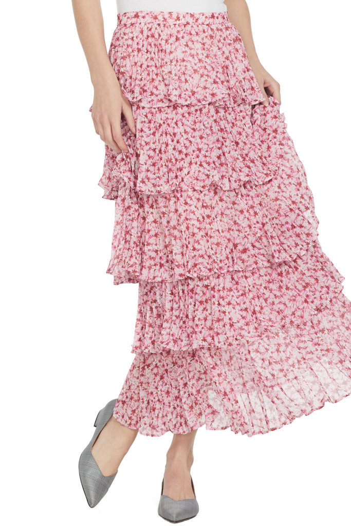 AMUR Floral Daze Pleated Skirt
