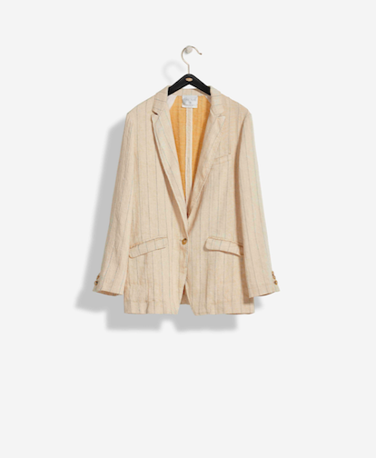 Pinstriped Cotton Linen Jacket - Sand