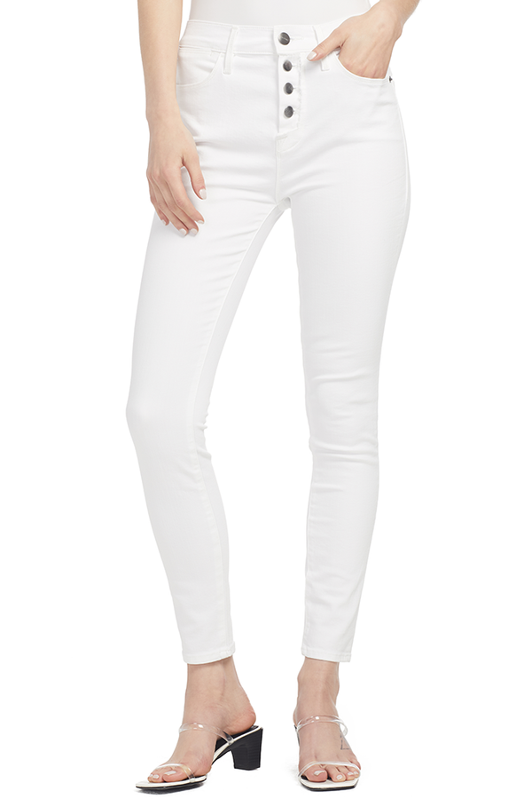 Frame Le High Skinny Button Fly (Blanc Street)