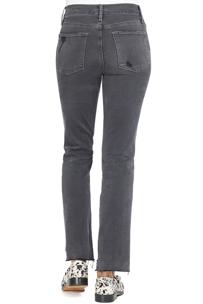 FRAME Le High Straight Raw Stagger Noise Denim