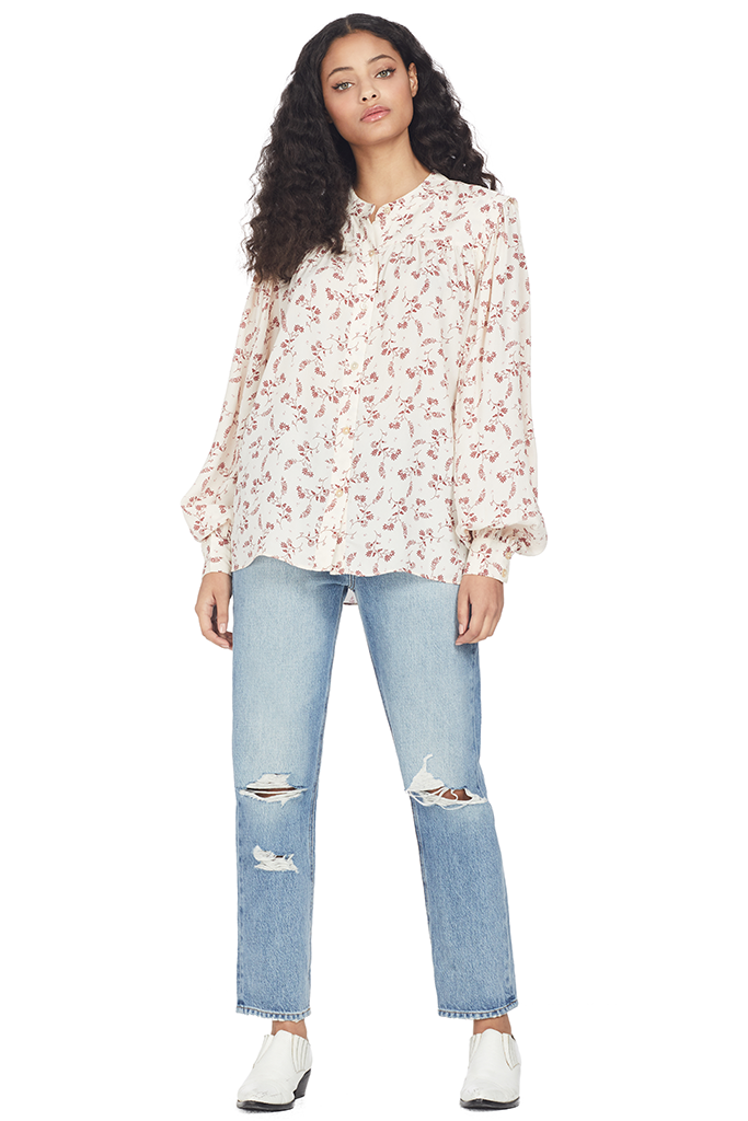 Frame Voluminous Button Up Top (Off White Multi)