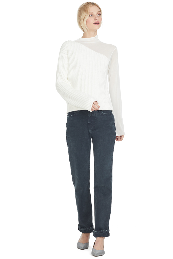 RtA Franny Turtleneck Contrast Swish White