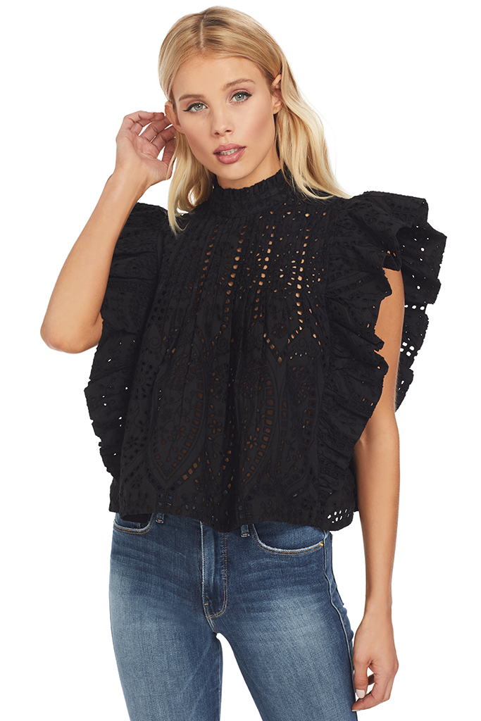 Ganni Broderie Anglaise Top (Black)
