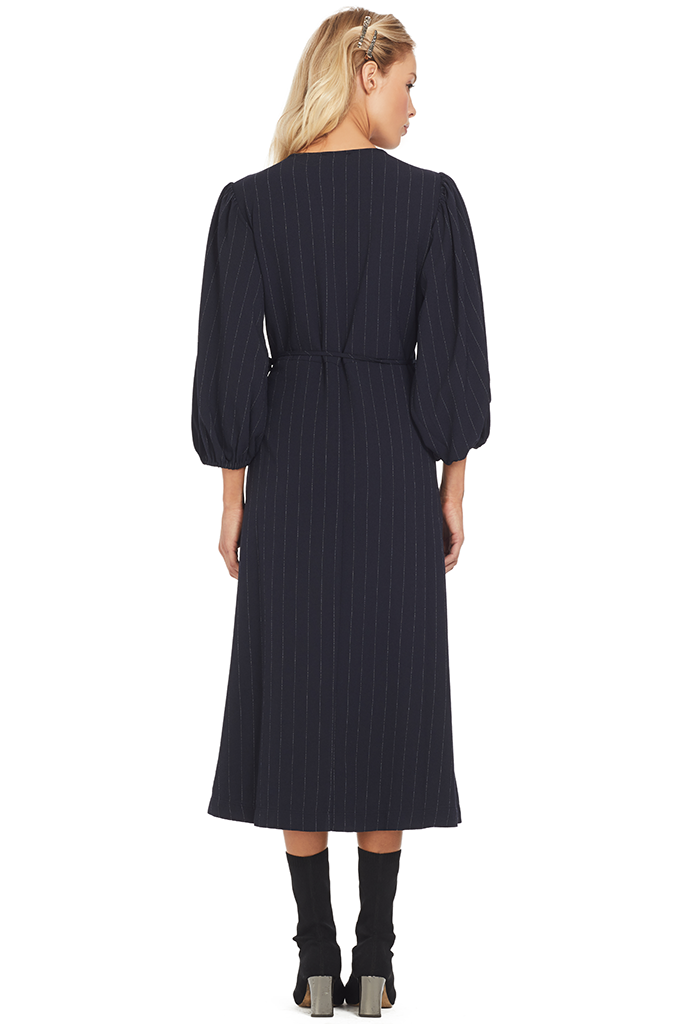Ganni Heavy Crepe Wrap Dress (Total Eclipse)