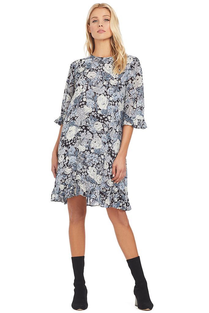 Ganni Printed Georgette Dress in Heather Floral Print