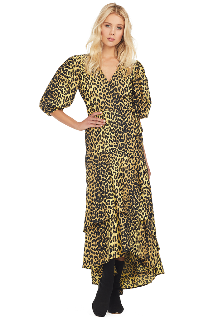 Ganni Printed Wrap Dress (Minion Yellow)