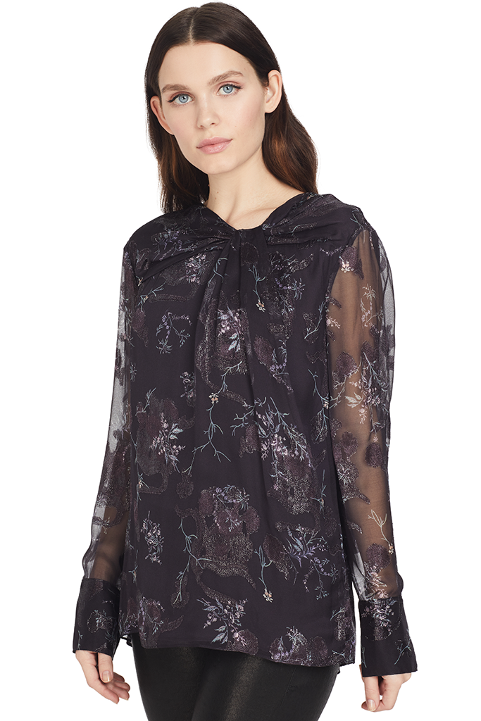 GREY Jason Wu Winter Floral Knot Front Blouse