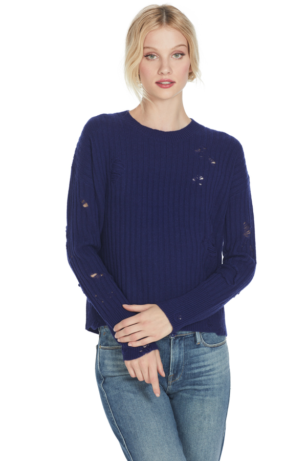 Gilda Cropped Crewneck Sweater Cachet Navy