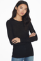 Feather Weight Merino Crew Long Sleeve Sweater (Black)