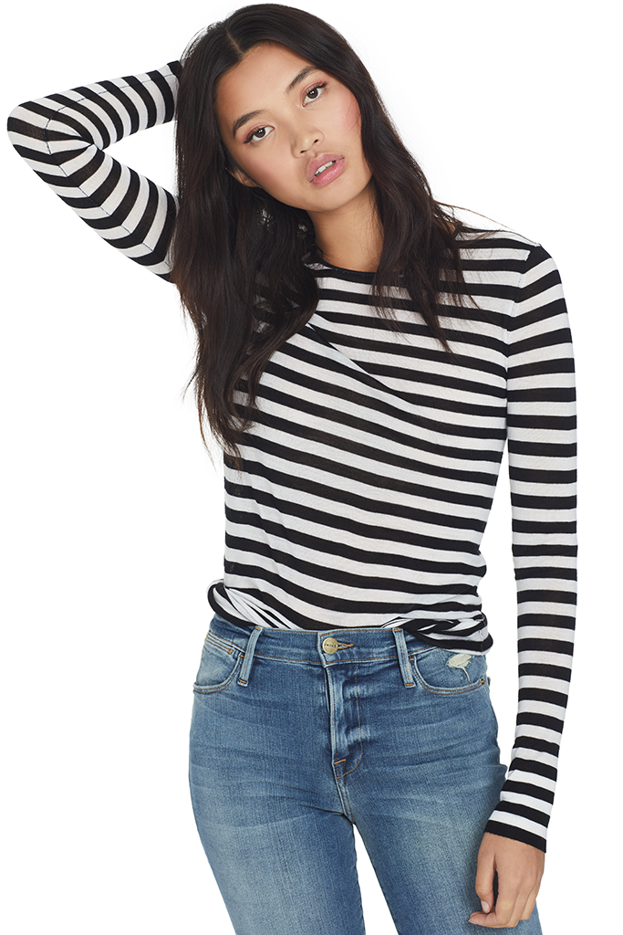 Striped Feather Weight Merino Sweater (Black and White)