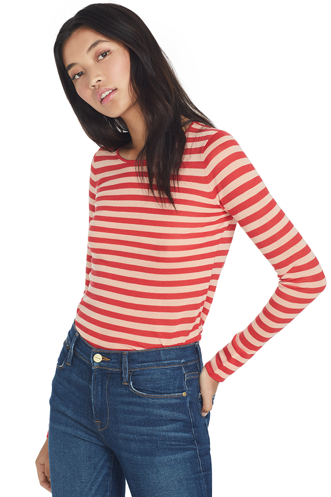Striped Feather Weight Merino Sweater (Blood Orange)