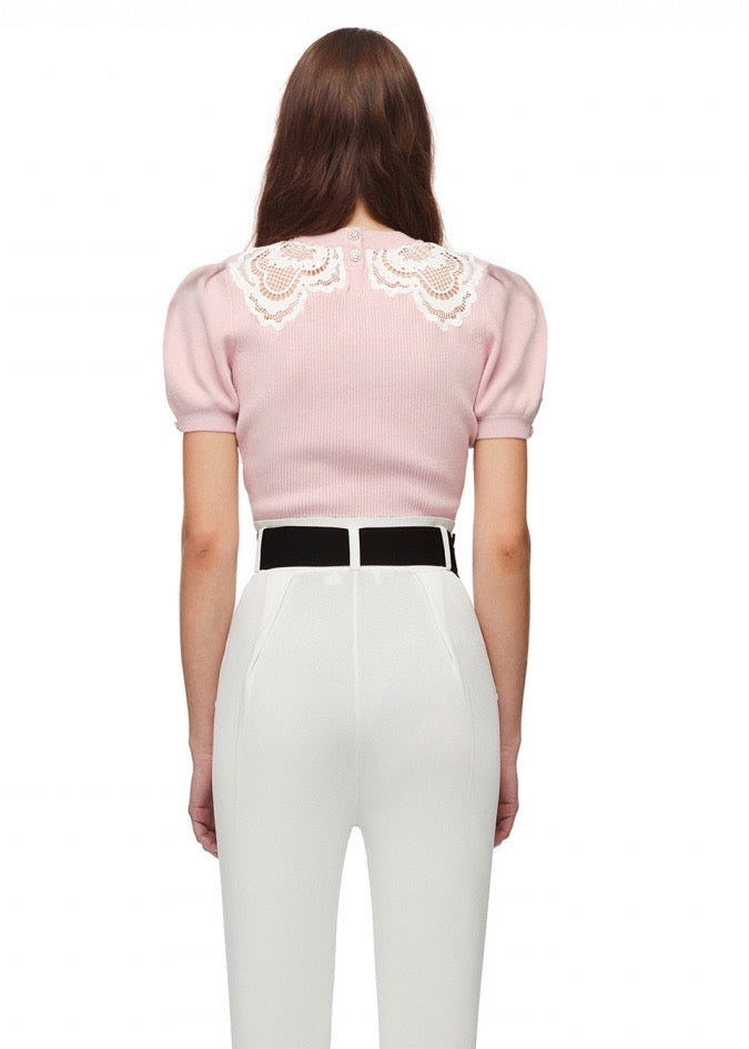 Guipure Applique Knit Top - Light Pink