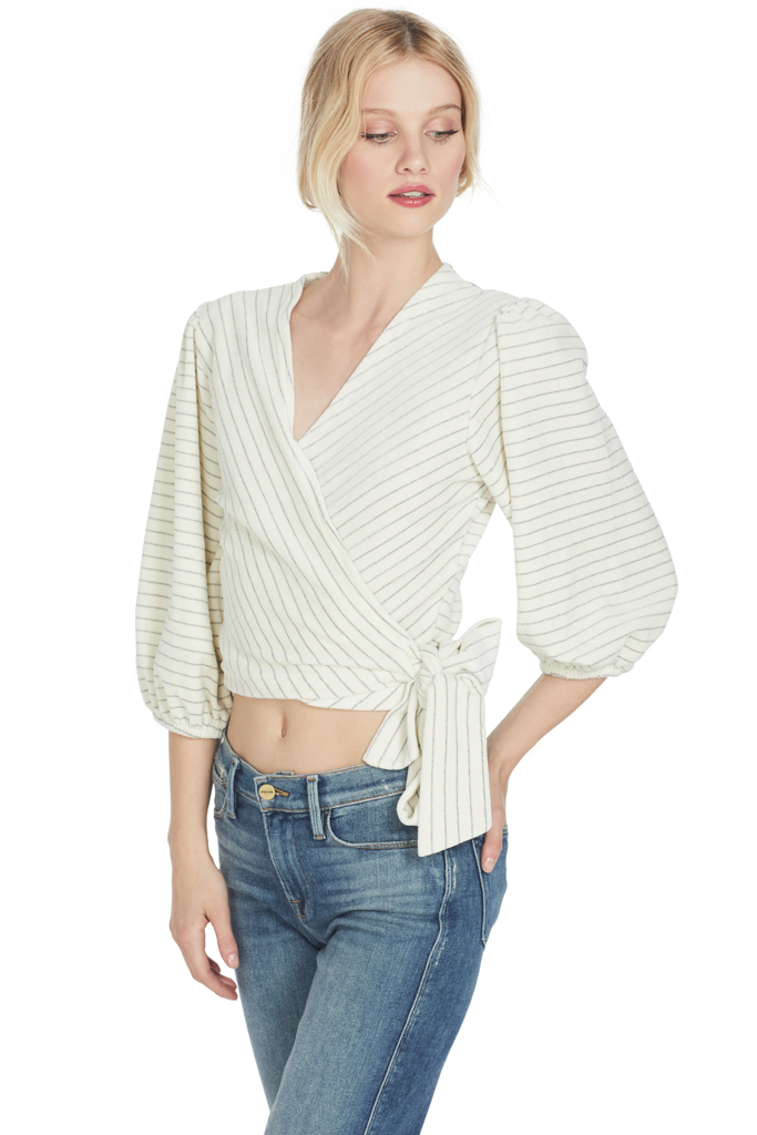 Ganni Hawley Wrap Top (Egret)