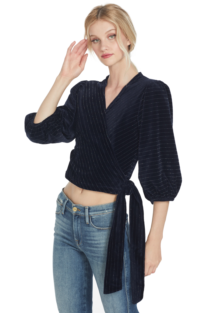 Ganni Hawley Wrap Top (Total Eclipse)