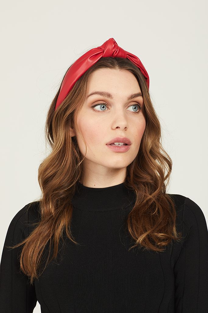 Vegan Leather Knot Headband (Red)