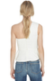 AMUR Linen Blend Top w One Shoulder Peplum (White)