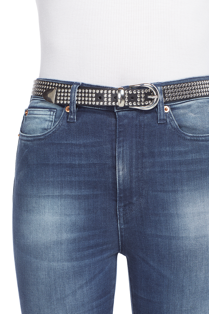 Iro studded loofy belt black silver