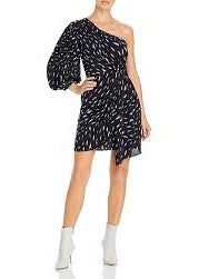 Akubra One Shoulder Dress - Black & White