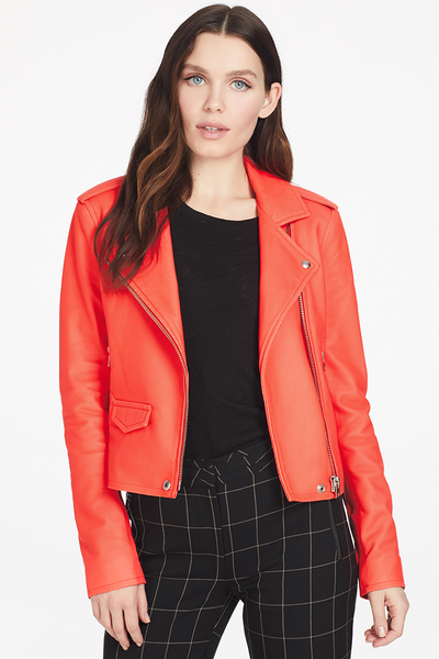 IRO Ashville Biker Jacket (Fluorescent Orange)