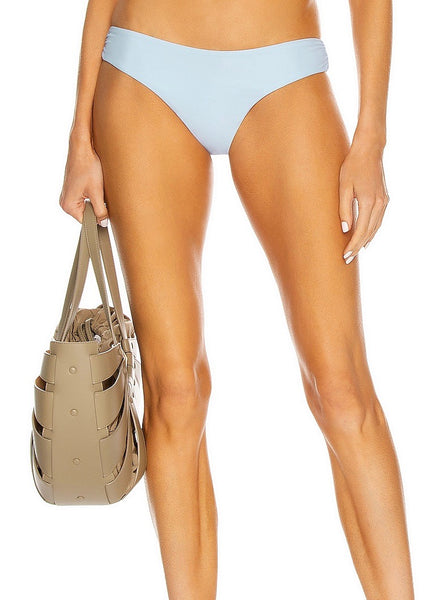Camila Side Ruched High Waisted Bikini Bottom - Blue