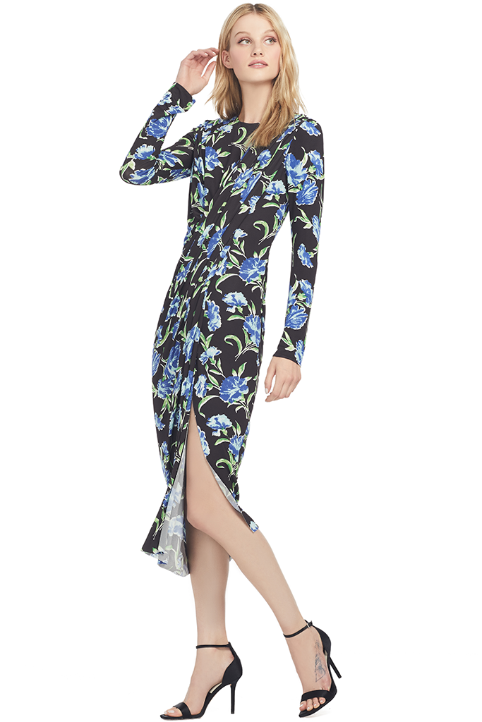 Jason Wu Collection Printed Jersey Long Sleeve Draped Dress (Black)