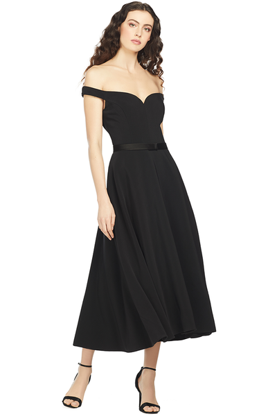Jason Wu Stretch Viscose Crepe Off Shoulder Cocktail Dress (Black)