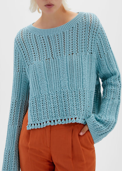 Amberly Chunky Cotton Cropped Pullover - Tide Pool