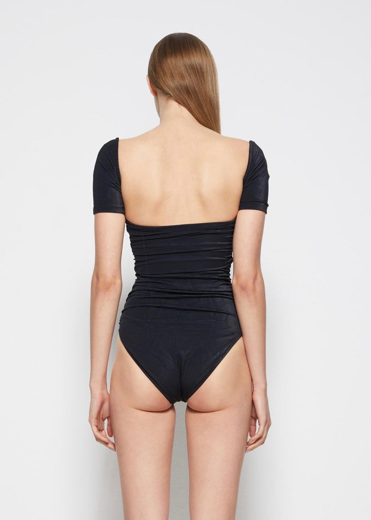 Miley Ribbed Square Neck Swimsuit - Black