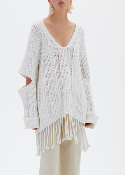 Rayna Chunky Cotton V Neck Poncho - White