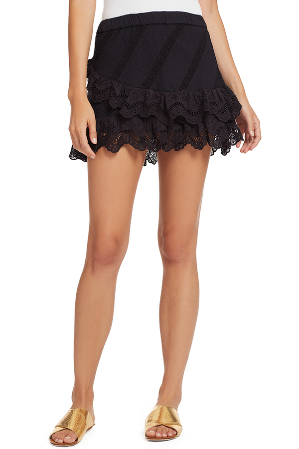 Loveshackfancy Emma Skirt (Black)
