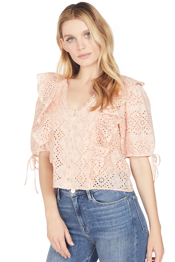 Loveshackfancy Kim Top (Pink Parfait)